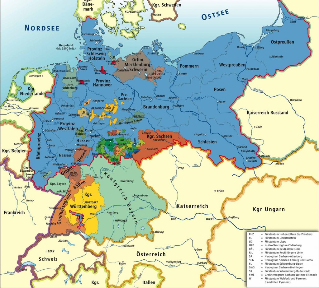 German States and Kingdom 1866-1871.