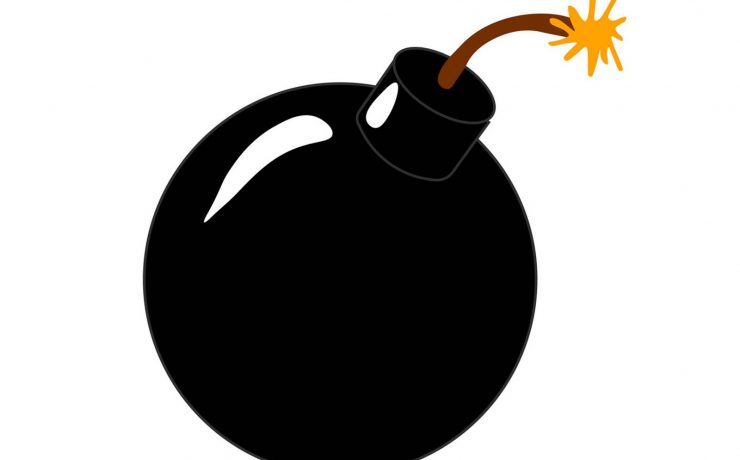 Where did the cartoonish bomb originate? The black sphere with a short wick?
